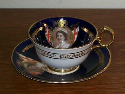 Aynsley Cup & Saucer Commemorating the 1953 Coronation of Queen Elizabeth