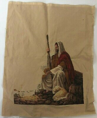 Vintage Handmade Needlepoint Cross Stitch Jesus Christ Christian Seated Lamb