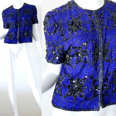 c162cc27ffd4 Vintage 1970s Sequin Silk Top Art Deco Beaded 70s Disco Party Evening Small