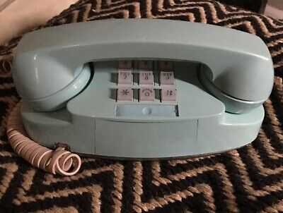Vintage Aqua Blue Princess Phone Western Electric Touch Tone Telephone  - WORKS!