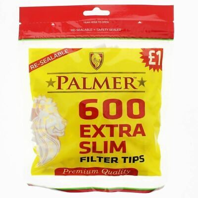 NEW 1 2 4X 10X 600 Palmer Extra Slim Smoking Rolling Filter Tips Resealable Bags