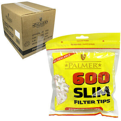 NEW 1 2 4 10 600 Palmer Slim Smoking Rolling Filter Tips Resealable Bags UK Sell