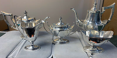 Gorham Antique Coffee & Tea 5pc Sterling Silver Set