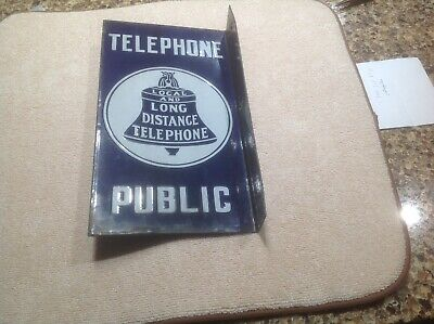 Very rare telephone porcelain flange sign with the word PUBLIC on the bottom