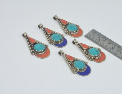 Mixed Lots Jewellery & Watches Wholesale 5pc 925 Tibetan Brass Red Coral Turquoise And Mix Stone Pendant Lot