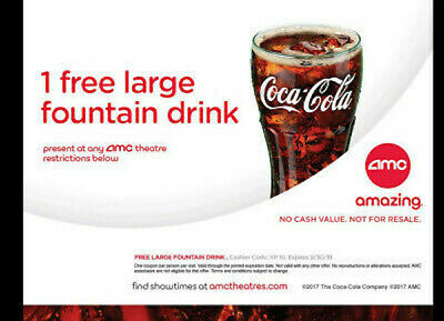 ⚡FAST DELIVERY⚡ AMC Theatres - 1 Large Drink - Expires 06/30/2019