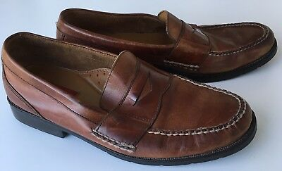 d2216138422 Bass Flex Monroe Mens Size 12M Leather Upper Brown Slip On Dress Shoes  Loafers
