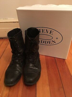 a69f15cea03d3 Steve Madden Troopa Black Leather Lace Up Combat Boot W  Box Women s Size  7.5 M