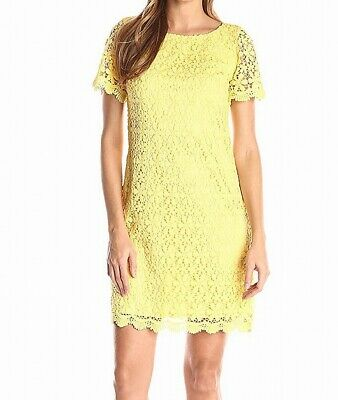 a8265594e6a1 Jessica Howard NEW Yellow Womens Size 12 Floral-Lace Sheath Dress $89- 656
