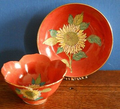 A Hand decorated sunflower red ware Porcelain bowl and dish – Y.T. Hong Kong