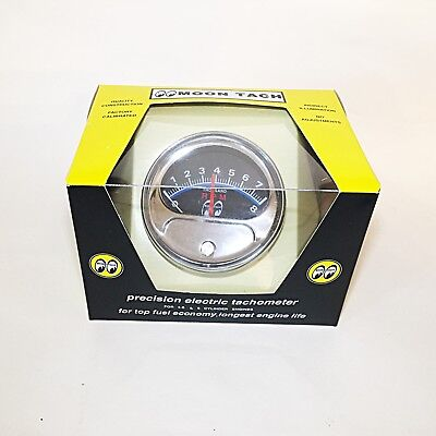 moon tach with chrome cup- for 4, 6 or 8 cylinder engines