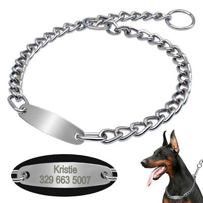 Stainless Steel Dog P-Choke Collar Chain Personalized ID Tag Engraved Adjustable