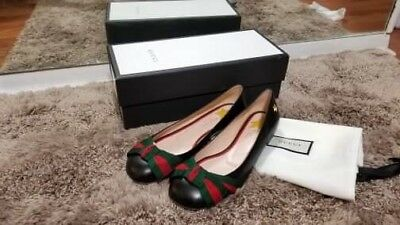 8469432f4 Gucci Womens Aline Leather Grossgrain Web Bow Ballet Flats Black Red Green  37  7