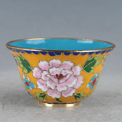 Chinese Cloisonne Hand-made Flowers Bowl JTL1040`a