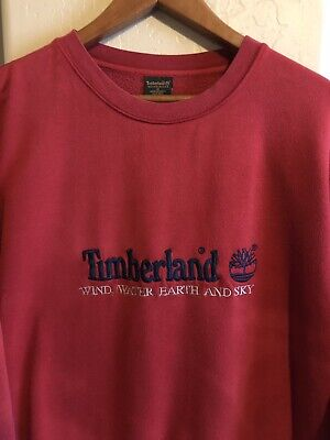 promo code 4b7f4 ae66e Vintage 90s Timberland Weathergear Embroidered Crew Neck Red Sweatshirt  Size M