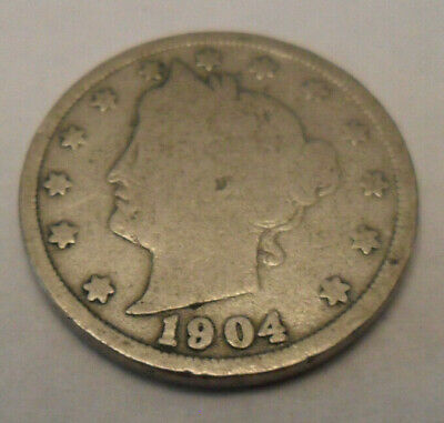 "1904 P Liberty Head ""v"" Nickel  Sds  **free Shipping**"