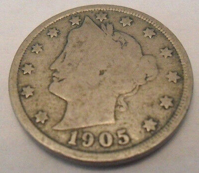 "1905 P Liberty Head ""v"" Nickel  Sds  **free Shipping**"