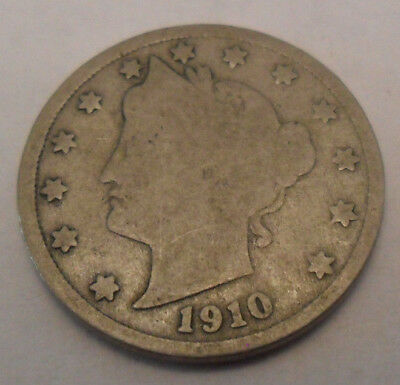 "1910 P Liberty Head ""v"" Nickel  Sds  **free Shipping**"