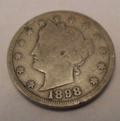 """1898 P Liberty Head """"v"""" Nickel  *ag Or Better*  **free Shipping**"""