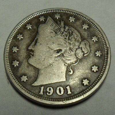 """1901 P Liberty Head """"v"""" Nickel   *ag Or Better*   **free Shipping**"""