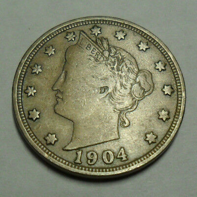 """1904 P Liberty Head """"v"""" Nickel  *ag Or Better*  **free Shipping**"""