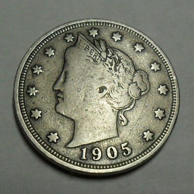 """1905 P Liberty Head """"v"""" Nickel  *ag Or Better*  **free Shipping**"""