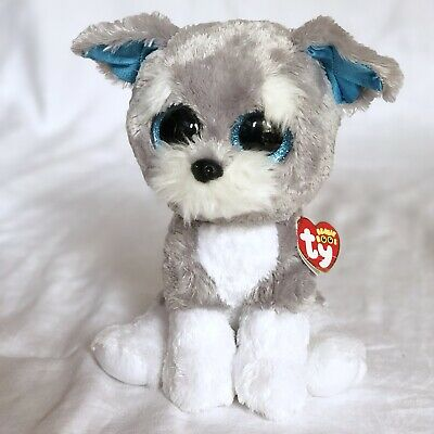 "590b1427161 Ty WHISKERS Grey White Schnauzer Dog 9"" Beanie Boos Buddy Retired Rare HTF  Puppy"