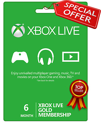 6 Month Xbox Live Gold Membership Subscription US Digital Code Email Delivery