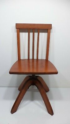 Vintage Childs Wood Swivel Bankers Chair Antique Salesman Sample Miniature Kids