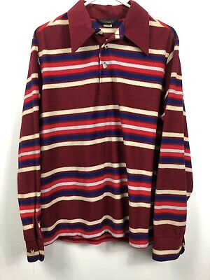 Vintage David Homscu Mens Large Velour Polo Long Sleeve Striped 70's Red Blue