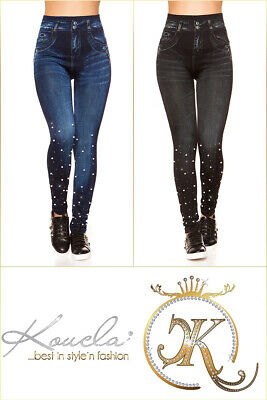 High Waist Thermo Jeans Look Leggings Deko Perlen
