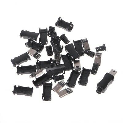 DIY 10Sets USB 2.0 Mini 5PIN Plug Socket With Plastic Cover With Tail Connector