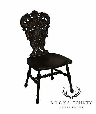 Antique Victorian Renaissance Style Carved Oak Hall Chair with Serpents