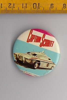 Vintage tin Captain Scarlet and the Mysterons badge pin 1960s Thunderbirds Movie