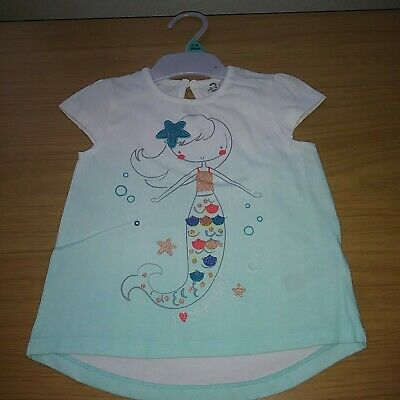 Baby Girls Mermaid T- Shirt 9-12 Months Embroidery + Glitter BARGAIN CLEARANCE.