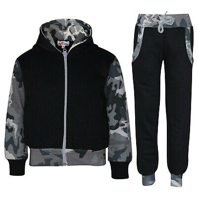 Kids Boys Tracksuit Fleece Hooded Hoodie Bottom Jogging Suit Jogger 2-13 Years