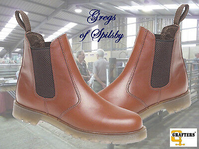 New Mens Grafters Leather Dealer Chelsea Boots With Air Cushion Soles Tan UK6-14