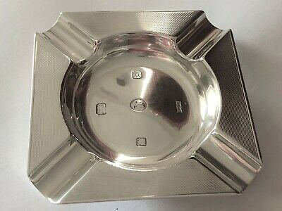 Sterling Silver Engine Turned Ashtray - S J Rose & Son - London - 1952