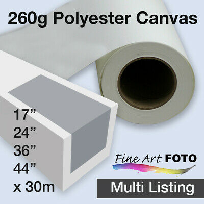 "Matte Polyester Inkjet Canvas 260gsm x 30m rolls Sizes 17""- 44"" *Free Shipping"