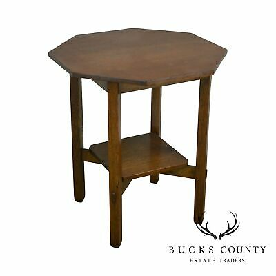 Stickley Brothers Antique Mission Oak Octagonal Lamp Table