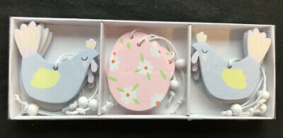 Gisela Graham 9 Assorted Pastel Wood Hanging Easter Spring Decoraions Chick Eggs