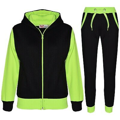 Kids Girls Tracksuit Fleece Hooded Hoodie Bottom Jogging Suit Jogger 2-13 Years