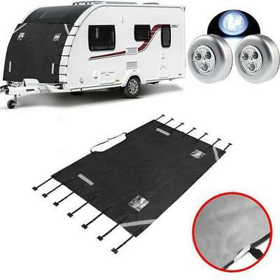 Universal Caravan Front Towing Cover Waterproof Dustproof With LED Lights For RV