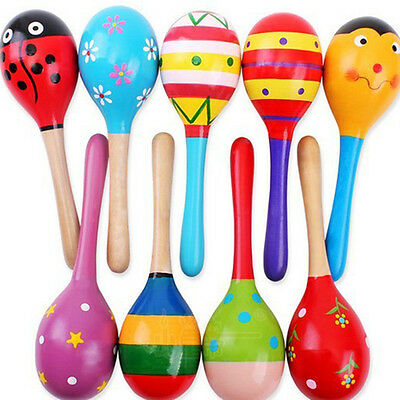 Big Size Wooden Maracas Baby Child Musical Instrument Rattle Shaker Party,Toy^