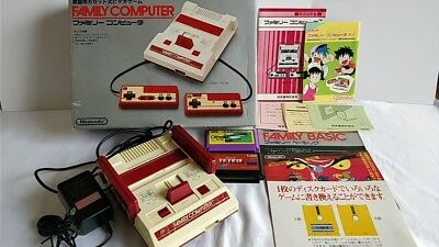 Nintendo Famicom NES HVC-001 Console,PSU,Manual,Rare Hand bill,Boxed,Game-C15-