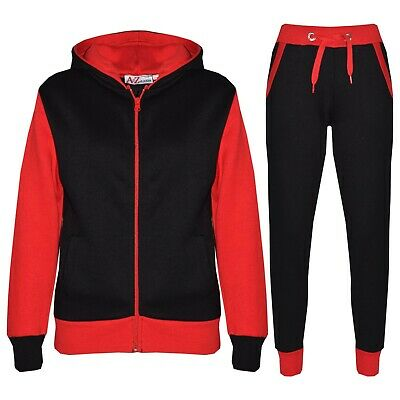 Kids Boys Red Tracksuit Fleece Hooded Hoodie Bottom Jogging Suit Jogger 2-13 Yrs