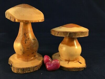 Pair of Lovely Hand Turned English Yew Wooden Mushrooms made from Windfall Wood