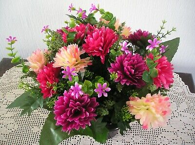 Quality Artificial /Silk Flower Arrangement In a Grave / Memorial / Crem Pot