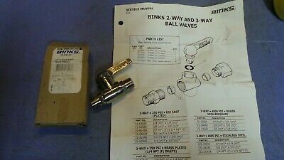 "1 – Binks Ball Valve 72-84040 Ball Valve 3/8"" NPT x 3/8"" NPT. NEW in Box"