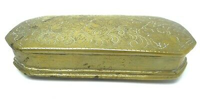 Antique Old Brass Metal Islamic Small Vanity Trinket Box Storage Container